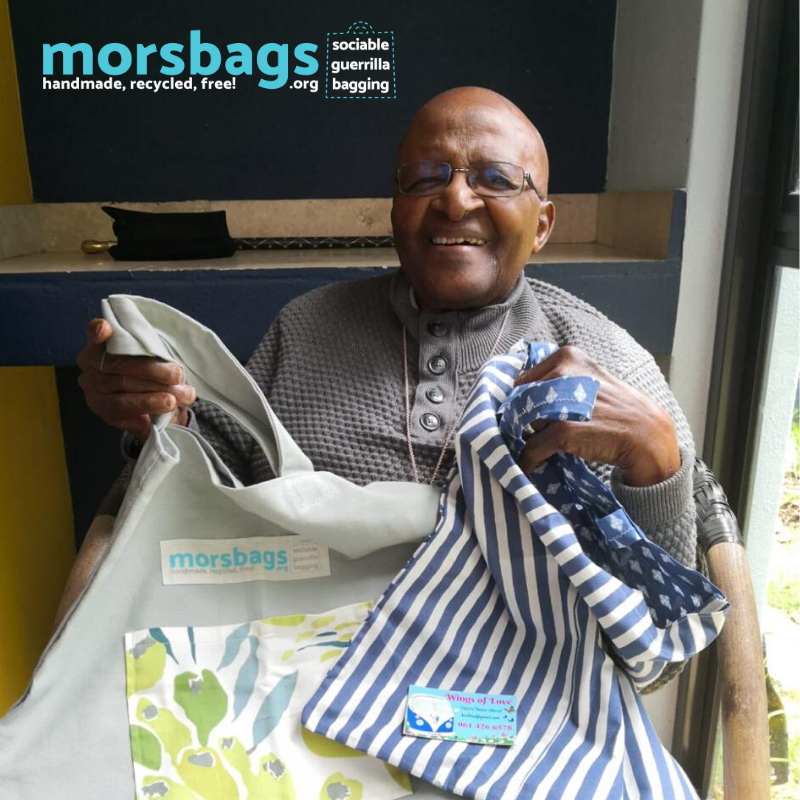 Desmond Tutu supporting Western Cape Morsbags