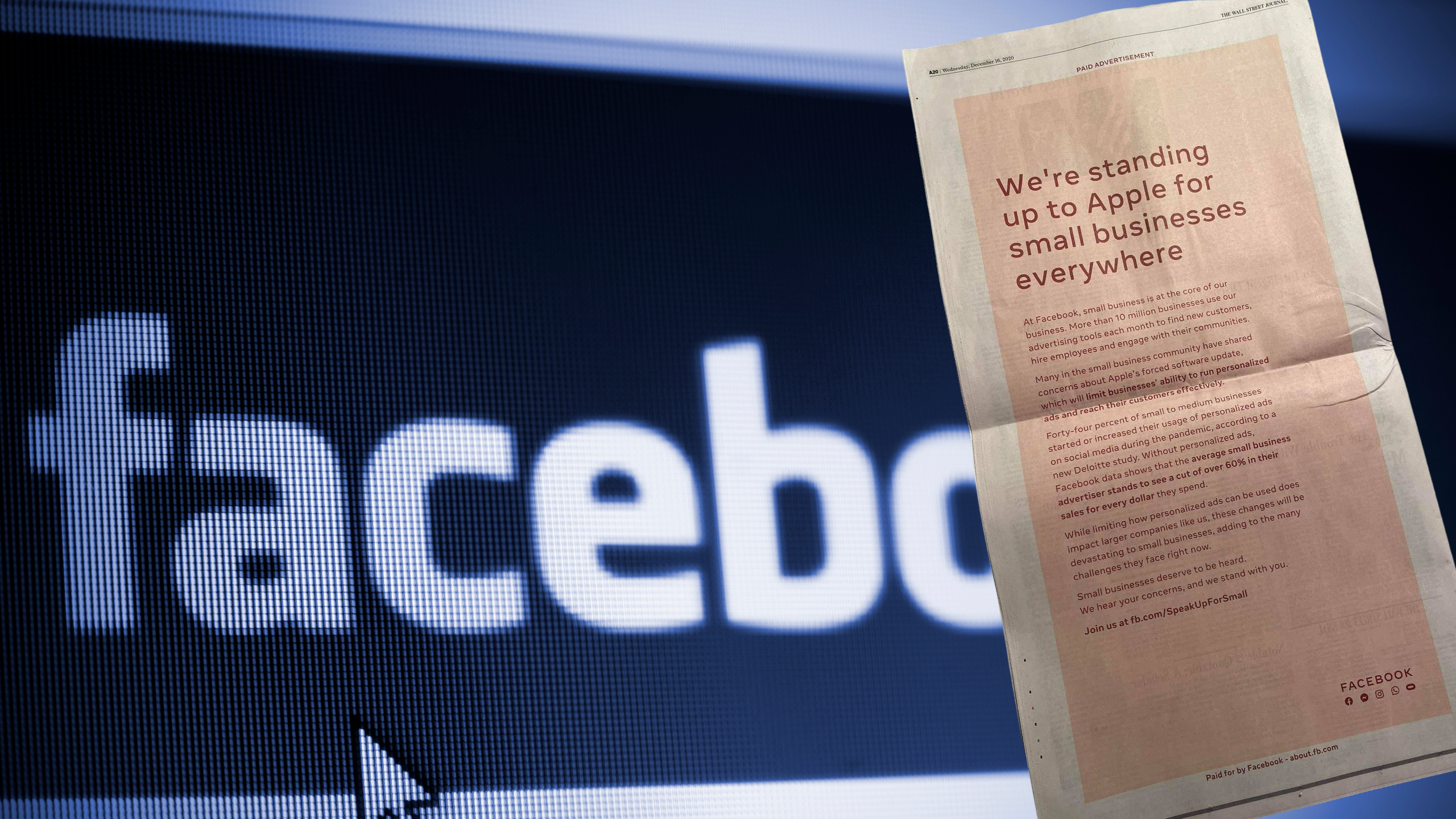 Facebook criticizes Apple's iOS privacy changes with full-page newspaper ads
